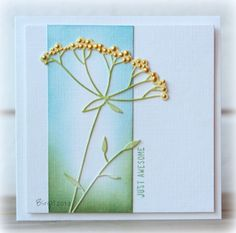 handmade card ... another piece of art! ... CAS217 Just Awesome by Biggan  ... luv the soft coloring and dimensional little dots on the flower ...