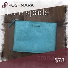 Kate Spade | blue pouch NWOT Brand new without tags! $78 retail value. kate spade Bags Cosmetic Bags & Cases