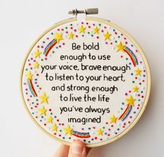 Hand Embroidery Inspirational Rainbow Shooting Star Quote Hoop Art 'Be bold'