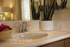 A Subtle Off White Tile Pattern Can Be An Elegant Match To Quartz Countertop