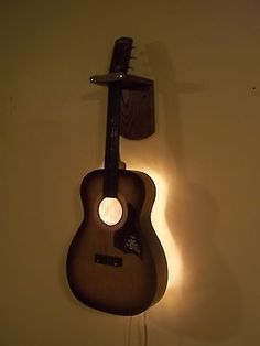 Upcycled Vintage Acoustic Guitar Electric Wall Light w/String & Pick Pull Switch