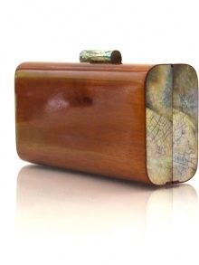 Vintage-inspired wood and shell clutch. Also available with black shell. Alyssa. by KAYU.