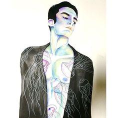 """Title: ALONG WITH MY SPIRIT ANIMAL  Series: Human•Nature  Medium: Watercolour, Sumi Ink  Year: 2015  #hajimeart #vsco #vscocam #japan #hamamatsu #art #artist #paint #painting #drawing #markers #paintings #watercolor #ink #creative #sketch  #pencil #arte #dibujo #myart #artwork #illustration #graphicdesign #graphic #color #minimalist #mensfashion #beard #scruff #mensphysique"" Photo taken by @haji_moto on Instagram, pinned via the InstaPin iOS App! http://www.instapinapp.com (01/09/2016)"