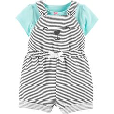 Carter's Baby Girls Cotton T-Shirt & Striped Bear Shortalls Set - Multi 3 months Toddler Fashion, Toddler Outfits, Girl Fashion, Girl Outfits, Carters Baby Girl, Baby Girl Newborn, Toddler Girl, Baby Girls, Baby Binky