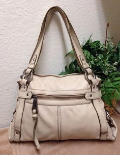 d0ad406499f7 Fifty Four by Fossil Beige Pebble Leather Satchel Shoulder Handbag Bag Purse   Fossil  ShoulderBag