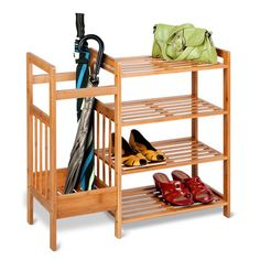 Tired of shoes and bags taking over the living room? Featuring a chic bamboo structure, this entryway organizer includes four shelves for sh...