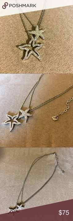Swarovski Starfish necklace Authentic Swarovski Starfish double chain necklace featuring two Starfish embellished with Swarovski crystals. Just in time for spring and summer! All crystals in tact. In mint condition without bag or box Swarovski Jewelry Necklaces