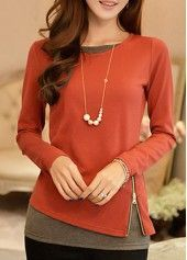 Long Sleeve Grey Patchwork T Shirt on sale only US$28.27 now, buy cheap Long Sleeve Grey Patchwork T Shirt at lulugal.com