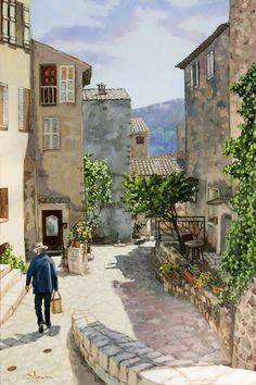 Carriero Du Pourtegue, oil painting, Provence, France, cityscapes, village, street, scene.