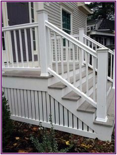 Painted White Vertical Wood Slats Backyard Ideas Deck Skirting From traditional lattice to modern wood slats, discover the top 50 best deck skirting ideas. Front Porch Stairs, Front Porch Design, Porch Steps, Deck Stairs, Front Deck, Deck Railings, Railing Ideas, Porch Step Railing, Vinyl Railing