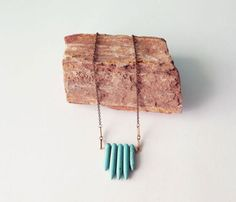 {Turquoise Necklace} howlite spikes + brass = good combo!