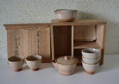 Hagi-yaki ceramic Japanese gyokuro tea set, stamped and boxed by StyledinJapan on Etsy
