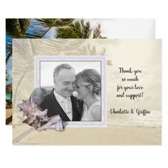 Beach Shells Photo Frame Thank You Note Card - wedding thank you gifts cards stamps postcards marriage thankyou
