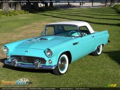 1955 Ford Thunderbird Convertible Thunderbird Blue with red and white leather interior one day i will on this Ford Thunderbird, Custom Radio Flyer Wagon, Radio Flyer Wagons, My Dream Car, Dream Cars, Vintage Cars, Antique Cars, Convertible, Ford Classic Cars