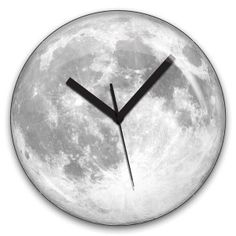 Kikkerland can't decide if their Glow in the Dark Moon clock makes a room look more romantic or like science nerd central. Two very different concepts. We do think it's a cool piece of art for the wall though!The face is an image mash-up of 65 different a Wall Clock Glow In The Dark, Moon Clock, Cadeau Design, Dark Moon, Deco Design, Dot And Bo, Simple House, Home Accents, Moonlight