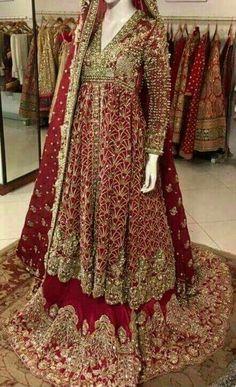Pakistani bridal wear by areeba Asian Bridal Dresses, Pakistani Wedding Outfits, Pakistani Bridal Dresses, Pakistani Wedding Dresses, Bridal Outfits, Bridal Lehenga, Indian Dresses, Indian Outfits, Pakistan Bride