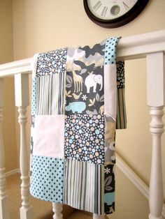 Zoology Patchwork Quilted Baby Blanket on Etsy, 62,00$