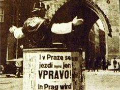 1939 - Policeman in Prague by changing driving to right direction