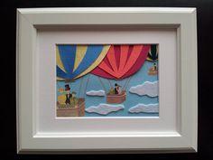 Children's Room Art, Nursery Decor, Hot Air Balloons, Framed Picture
