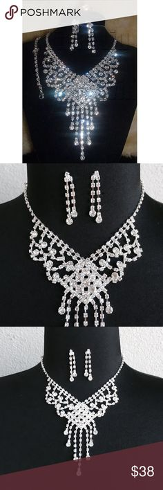 🆕Beautiful Rhinestone Necklace Earrings Set Brand New Beautiful Sparkle Necklace Earrings Set. Perfect for the party. Jewelry Necklaces