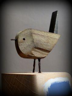 Recycled Wine Bottle Glass Windchime on Driftwood : Wind Chimes : Patio, Lawn & Garden Driftwood Sculpture, Driftwood Art, Wooden Art, Wooden Crafts, Driftwood Projects, Wood Animal, Wood Bird, Junk Art, Pallet Art