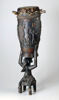 Africa   Ceremonial drum ~ pinge ~ from the Senufo people of the Ivory Coast   Wood, hide and applied color
