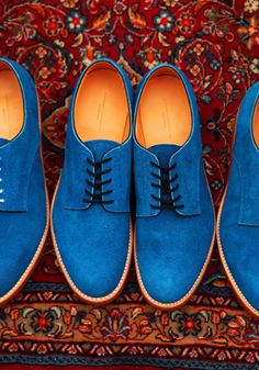 Blue Suede Shoes... we were just talking about these for him. (He wants a pair in zebra stripe on bright blue suede.)
