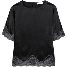 Sandro Lace-trimmed silk-satin top (2.244.930 IDR) ❤ liked on Polyvore featuring tops, black, loose fitting tops, lace trim top, cut loose tops, silk satin top and key hole top