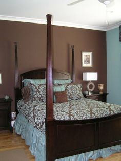 I'm thinking of going DARK in our bedroom. The bedding colors are the colors of our bedding and window treatments.