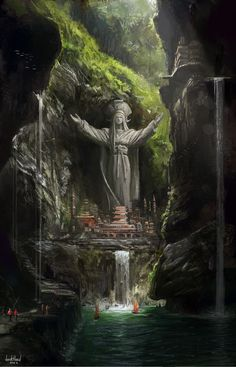 "I like the idea of a city built around a large statue. It's almost like a fantasy version of ""Christ the Redeemer"" in Rio Janeiro #FantasyLandscape"