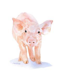 Pig Watercolor Painting Giclee Print 8 x 10 Fine Art Piglet Nursery Art - Farm Animal Art