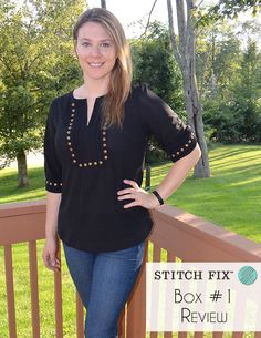 Stitch Fix Review - Love this top. 41Hawthorn Moni Stud Detailed 3/4 Sleeve Blouse