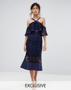 Get this Jarlo's midi dress now! Click for more details. Worldwide shipping. Jarlo Frill Layer Cold Shoulder Lace Midi Dress - Navy: Midi dress by Jarlo, Floral crochet lace, Mini-length lining, Cold-shoulder neck, Sheer inserts, Zip back, Regular fit - true to size, Dry clean, 100% Polyester, Our model wears a UK 8/EU 36/US 4 and is 175cm/5'9 tall, Exclusive to ASOS. Jarlo was created in 2008 by Carly Hallahan and started life on a stall on London's famous Portobello road. An obsession with…
