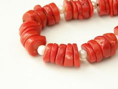 Red bamboo coral with sweet water white pearls on by LenaMer, $43.00