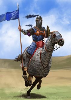 Byzantine Heavy Cavalryman known as a Cataphract or Clibinarius because of his armor which completely covered both he and his horse. These were Abrams Tanks of their day, being used in large wedge formations to puncture holes in enemy lines and they could also hold their own in a skirmish because they also carried bows and were extremely adept archers though they were venerable to a formed mass of heavy spear/pikemen. When their charge was stopped, their armor could become a liability.