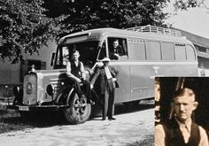Willy Mentz and a death bus 1940  A Gekrat bus which carried the victims to the euthanasia killing sites. The bus is standing in front of the Grafeneck farm house. Mentz is sitting on the mudguard. Looking out of the bus window is probably Hermann Michel.