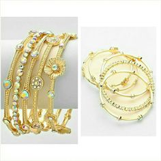 """Gold flower & rhinestone bangle bracelet set Gorgeous gold tone bangle bracelets dazzled with mini flowers and sparkling rhinestones. Fits wrist 7 to 7.5"""" perfectly. Brand new with tag. Set of 5. Great quality and design. Jill Marie Boutique Jewelry Bracelets"""