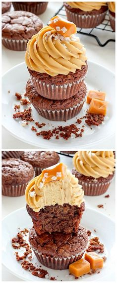 Dark Chocolate Brownie Cupcakes with Salted Caramel Frosting - these cupcakes are SO dreamy!