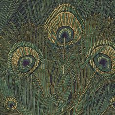 Hera Fabric An eye-catching fabric, originally designed in 1887 and featuring a large scale design of peacock feathers shown in sea green and navy blue. The design is named after the Greek Goddess Hera as one of her symbols was a peacock feather.