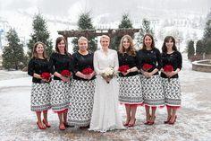 winter wedding with cutie bridesmaids!