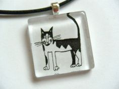 OOAK Black White Kitty Cat Recycled Material by HeidiKindFinds, $12.00