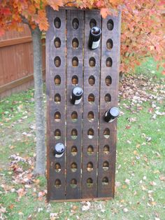 Dark Walnut Wine Rack, French Riddling Rack, Wall Mounted Wine Rack, Riddling…