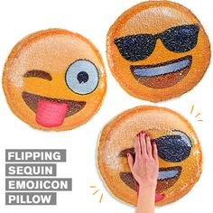 New flipping sequin pillows with emoji faces. Flip the sequins back and forth to change the face. The cutest mermaid pillow around! Available in a variety of shapes, colors and emoji styles.