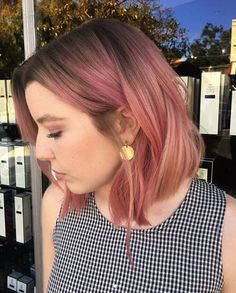 Pink balayage short hair bob