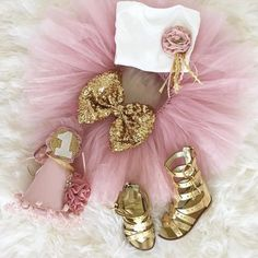 "Our NEW Tutu Bitthday Set styled with our Gold Gladiators Tutu sets available in 5 colors! This one is ""Blush"" Shop: http://ift.tt/28YfRsr"