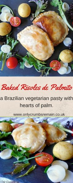This delicious vegetarian recipe is a baked version of the traditional risoles de palmito.  The filling consists of hearts of palm, carrots, tomatoes, onion, garlic and cream cheese.  They were served with a light salad and a few new potatoes.