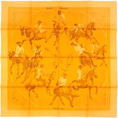 Pre-Owned Hermes Paris Ballet Equestre 90cm Silk Scarf Carre by Hubert...  ( 425) ❤ liked on Polyvore featuring accessories, scarves, orange, orange  scarves ... a2a12d4009f