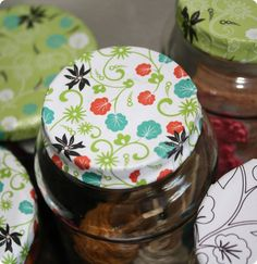 Decorate baby food jars for multi-purpose uses. I'm going to use them to put that home made sugar or salt scrub I make for coworkers this holiday season. (: