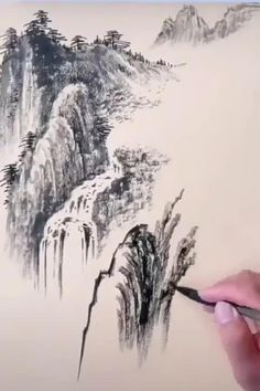 Chinese Landscape Painting, Japanese Landscape, Chinese Painting, Landscape Art, Landscape Paintings, Asian Wall Art, Asian Art, Japanese Watercolor, Watercolor Paintings