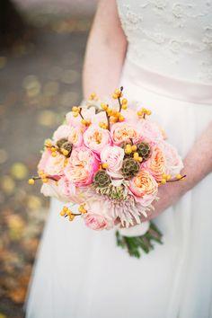 Wedding Pink Yellow Berries Bouquet www.malinwidstrand.com